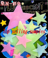 Wholesale 10pcs stars color stickers luminous posted glow in the dark Wall stick bedroom good gift