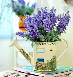 HOT Silk Lavender Bunch (5 stems piece) 10PCS Lavenders Bush Bouquet Simulation Artificial flower Lilac & Purple & White Wedding  Home