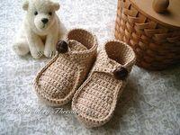 Crochet baby shoes button booties 100% cotton 0- 12M size 11p...