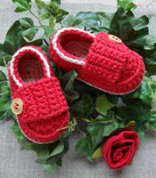 1Pair crochet baby first walker shoes boy loafers wooden but...