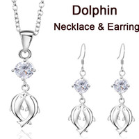 Wholesale Jewelry sets silver pendant necklace crystal double dolphin earring HOT
