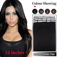 Wholesale SUNNY g quot quot Silky Straight Jet Black Glue Skin Weft Tape in Hair Extensions Indian Remy Human Hair TSW026