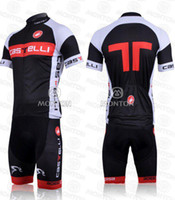Wholesale By DHL CASTELLI red and black team CYCLING JERSEY AND BIB SHORTS bike jersey Cycling Clothing
