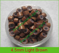 Wholesale 4 mm silicone micro ring links for hair extensions hair extension tools Li brown mix color