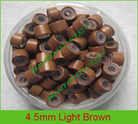 Wholesale mix color mm silicone micro ring links for feather hair extensions color light brown