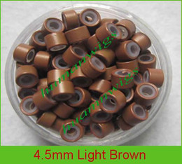 mix color 4.5mm silicone micro ring links for feather hair extensions,color: light brown!10000pcs