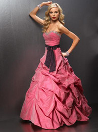 Wholesale 2011Fushia And White Pleated Cheap Customer Made Design Sash Prom Dress with Beads