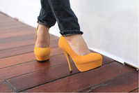 Wholesale 2012 Fashion High heeled Waterproof Suede Heels Yellow Shoes size