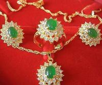 achat en gros de bijoux de jade vert-Bijoux plaqué or jade vert magnifique ensemble