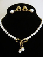 absolutely necklaces - Absolutely white pearl yellow gold pendant necklace set