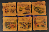 Bamboo bamboo table mat - Gift Painted Coaster Glass Cup Coaster Chinese Ethnic Bamboo Glass Pad Table Mat pack Free