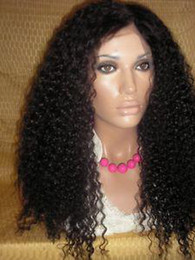 Wholesale 22 quot afro curl color1b indian remy hair lace wig accept