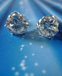 Plated Silver Earring Stud Silver Diamond Earring Fashion Jewellery 8mm STUD ZIRCON earrings
