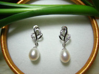 Wholesale mm AAAA natural pearl earring silver freshwater pearl earring J902