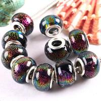 14mmx8mm lampwork beads - 14x8mm Rondelle Murano Bracelet European Bead Lampwork Dichroic Glass Bead Dichroic Glass Lampwork