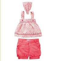 Wholesale baby sets AMISSA baby shorts baby tank top baby headband baby suits baby top girls sets CL107
