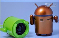 Wholesale Google Android Robot Mini Speaker with TF Card Slot amp FM Raido with Retail Package box