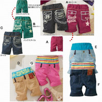 Wholesale 2011 Baby boy High waisted stripe shorts Jeans Boy Shortclothes Girls Short pants bottoms knickers