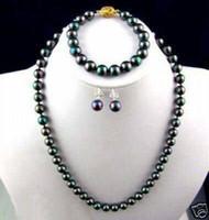 akoya pearl necklace set - 7 mm Black Akoya Pearl Necklace Bracelet Earring Set