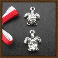 al por mayor encanto de la joyería de la tortuga-Accesorios de la joyería de DIY plata retra plateada tortuga / encantos de la tortuga joyería colgantes SPL011 15x11mm 92pcs / lot
