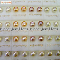 wholesale akoya pearls - pari white pink purle black Set MM Multicolor Akoya Pearl Earring soild sivler stud