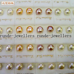 Wholesale pari white pink purle black Set MM Multicolor Akoya Pearl Earring soild sivler stud
