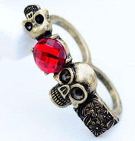 Wholesale 2011 New Vintage red gemstone rings personality ruby Skull flower double ring best selling