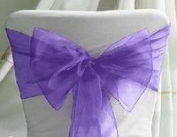 Wholesale 50 Purple NEW Wedding Party Banquet Chair Organza Sash Bow Wedding sashes Decorations Supplies