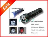 LED Dry Battery 3 X AAA 3 in 1 LED LASER UV Ultra Flashlight Lamp Light Torch 100pcs + DHL Free shipping