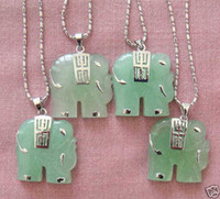 Children's Silver Plate/Fill Jade Beautiful 4Pcs Jade Elephant Pendant