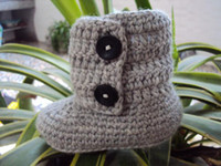 Winter big purple button - Crochet baby soft booties infant first walker shoes cotton yarn big button pairs M size