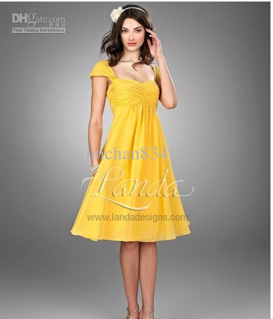 Wholesale short yellow wedding dress cooktail evening bridal