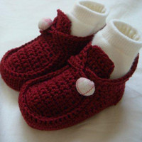 Crochet baby shoes button booties cotton 0- 12M size 12pairs ...