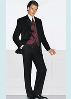 Wholesale New Men Wedding Prom Clothing Groom Tuxedos Bridegroom Suit Jacket Pants Vest Tie NO
