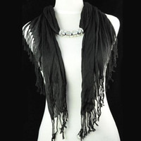 Tie-Dyeing beaded tie necklace - Hot selling for america women jewelry polyester beaded black scarf necklace with CCB beads pendants NL F