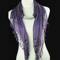 Wholesale Lavender color scarfs cotton plain Knitting design NL E