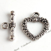 Wholesale 200set Zinc Alloy IQ Clasp Tibet Silver Tone Heart Toggle Clasps jewerly Making FINDINGS