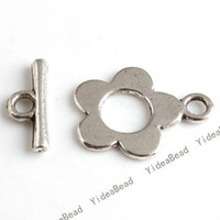 Wholesale 40set Zinc Alloy IQ Clasp Tibet Silver Tone Flower Toggle Clasps jewerly Making FINDINGS