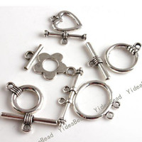 Wholesale 100 Mixed ASSORTED Alloy IQ Clasp Tibet Silver Tone Toggle Clasps jewerly Making FINDINGS
