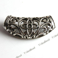Wholesale 20pcs Alloy Tibetan Silver Tone Carved Flower Spacer Charms Beads jewerly Making FINDINGS
