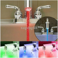 Wholesale 3 Colors LED Water Glow Shower LED Faucet Light Temperature Sensor