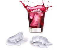 Wholesale Fred Cold Blooded Vampire Teeth Shape Ice Cube Tray Mold Mould Icebergs Maker Cool Bar Party Gadgets