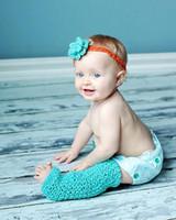 Crochet baby leggings headbands match flower cotton yarn 10s...