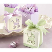 Wholesale 200Pcs cm Cube Pram Piercing Wedding Baby Shower Gift Favor Boxes FFF