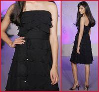 Sexy hot straight neckline folded black Bridesmaid Dresses Gowns sheath custom knee length elegant