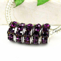 rhinestone color: amethyst amethyst elements crystal - 10MM Rhodium Plated Amethyst Crystal Rhinestone Spacers Fit For DIY Charming Bracelets Chains
