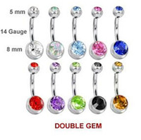 Wholesale 48pcs double gem belly ring press fit body piercing jewelry body jewelry mixed color double gem