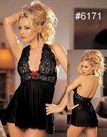 Lace Chemise Free Size Black Lace Chemises Baby dolls Dresses + Thong for Women Sheer Illusion Girls sex lingerie sleepwear