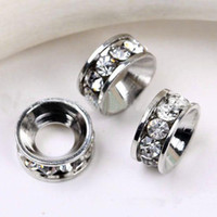 al por mayor crystal rondelle beads-10MM rodio plateado, perlas grandes de Rondelle del Rhinestone del agujero, forma los espaciadores cristalinos de las pulseras