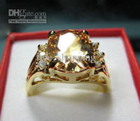 Wholesale womens gorgeous ring ct clear champagne coffee gemstone ring Tanzanite solid k yellow gold plated ring